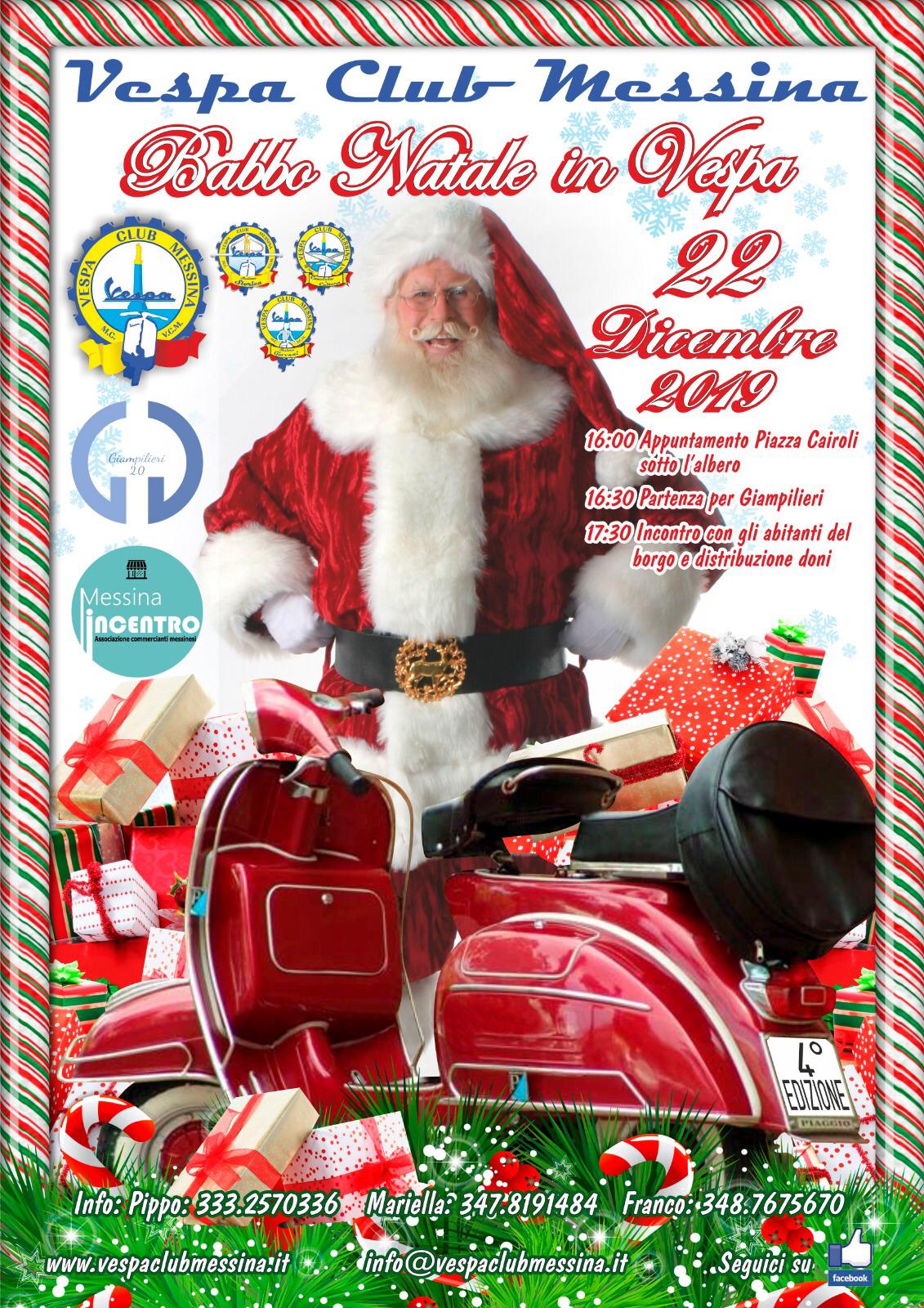 Babbo 4 Natale.4 Edizione Di Babbo Natale In Vespa 2019 Vespa Club Messina